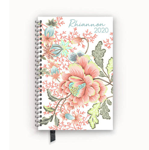 2020 FlexPad Personalized Planner Coral Floral Chinoiserie