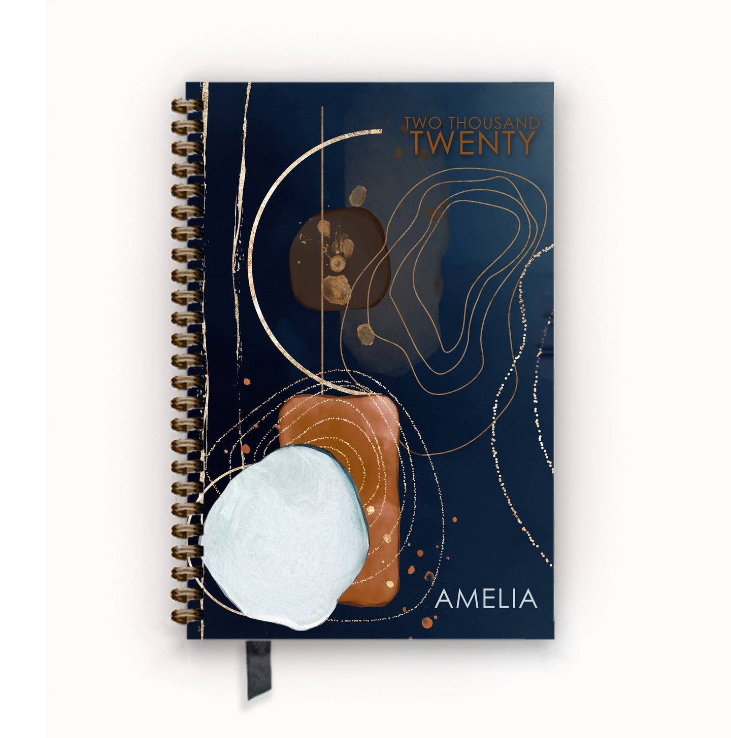 2020 FlexPad Personalized Planner Navy and Saddle Deconstructed Geode