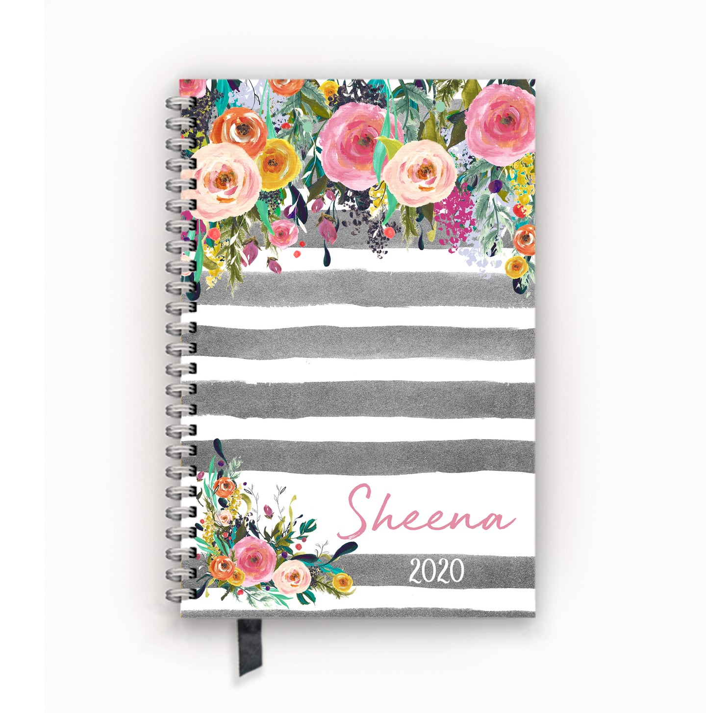 2020 FlexPad Personalized Planner Watercolor Floral on Gray Stripes