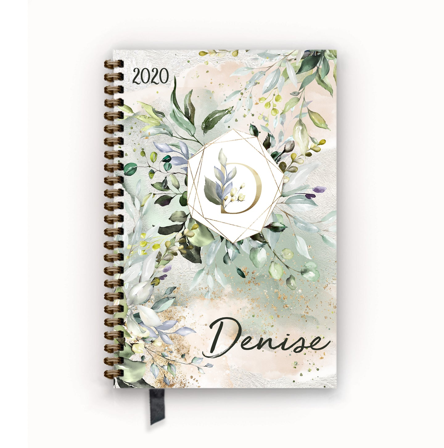 2020 FlexPad Personalized Planner Herbal Aloe Green Floral Monogram