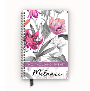 2020 FlexPad Personalized Planner Pink Lily Black and White Floral