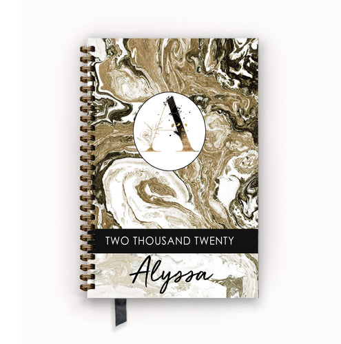 2020 FlexPad Personalized Planner Chestnut Marble Monogram