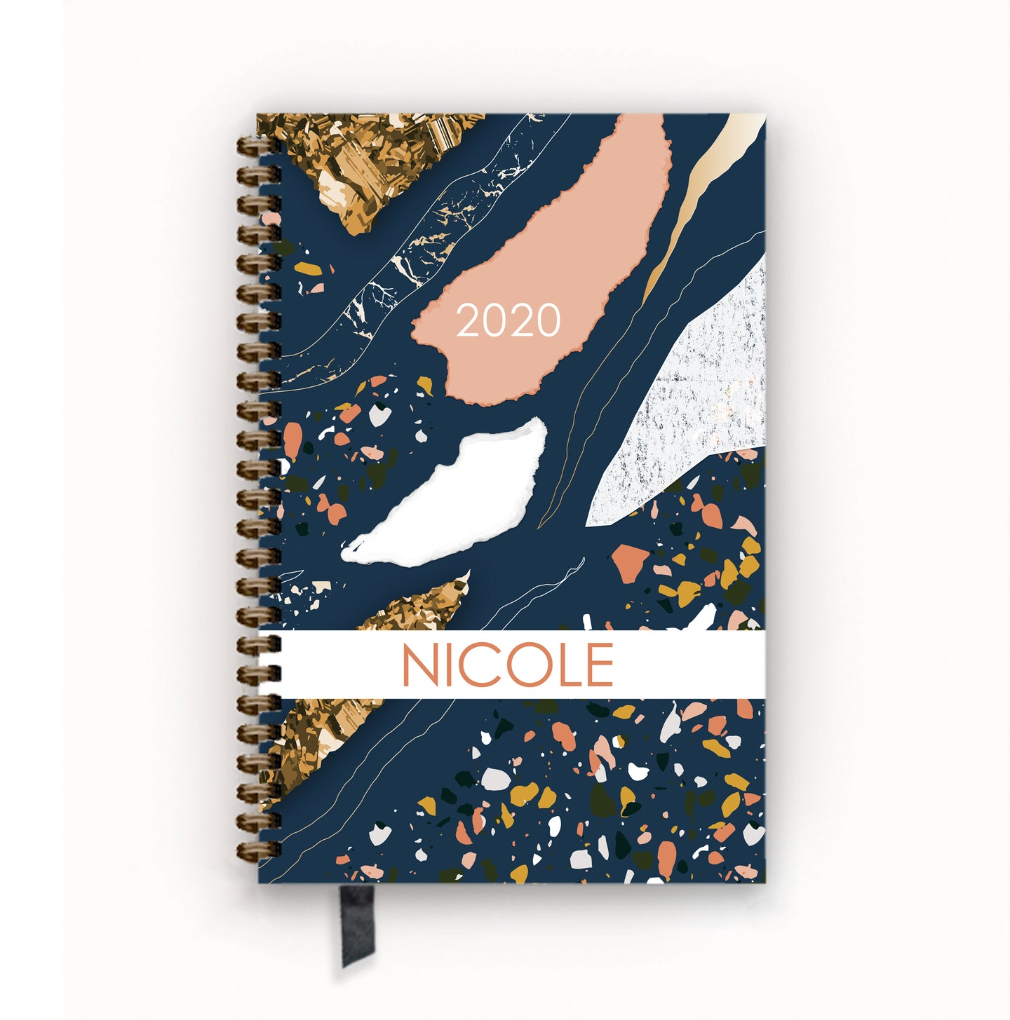 2020 FlexPad Personalized Planner Navy and Coral Terrazzo Glam