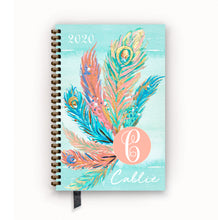 Load image into Gallery viewer, 2020 FlexPad Personalized Planner Watercolor Peacock Feather Monogram