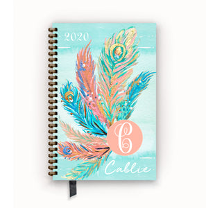 2020 FlexPad Personalized Planner Watercolor Peacock Feather Monogram