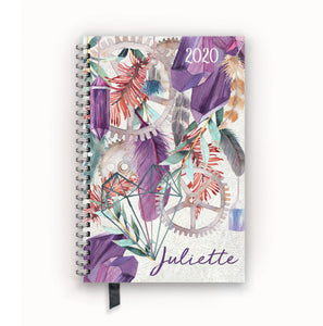 2020 FlexPad Personalized Planner Watercolor Feather Crystal Bohemian