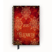 Load image into Gallery viewer, 2020 FlexPad Personalized Planner Gothic Red Vintage Damask