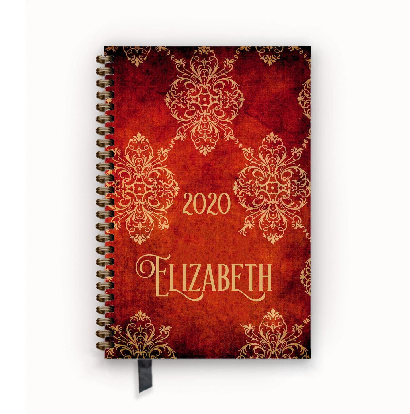 2020 FlexPad Personalized Planner Gothic Red Vintage Damask