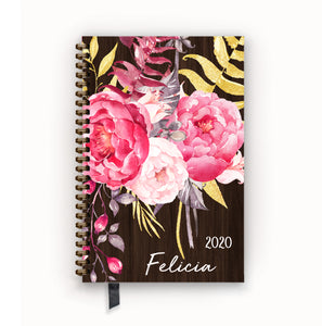 2020 FlexPad Personalized Planner Rosewood Peony
