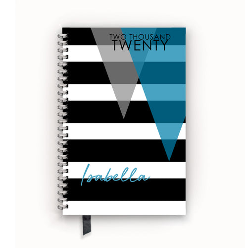 2020 FlexPad Personalized Planner Turquoise Layered Triangles on Stripes