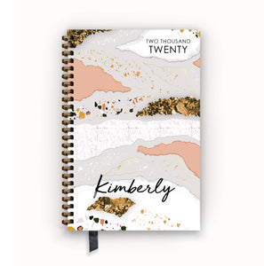 2020 FlexPad Personalized Planner Coral and White Terrazzo Glam