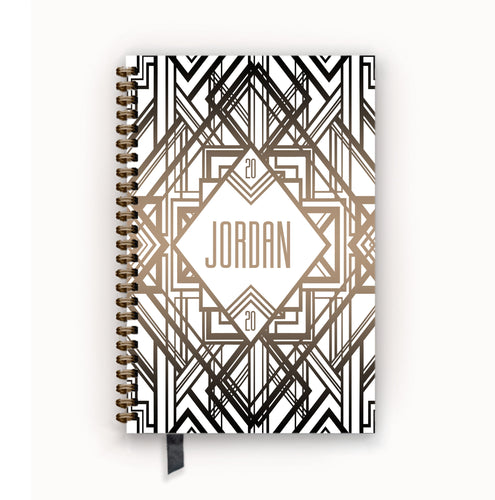 2020 FlexPad Personalized Planner White and Taupe Art Deco