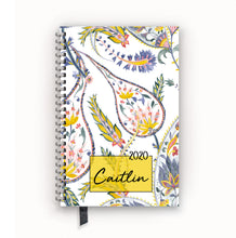 Load image into Gallery viewer, 2020 FlexPad Personalized Planner Goldenrod Botanical Paisley