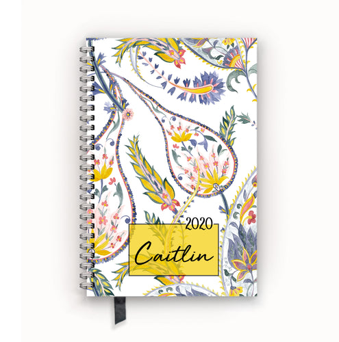 2020 FlexPad Personalized Planner Goldenrod Botanical Paisley