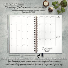 Load image into Gallery viewer, 2020 FlexPad Personalized Planner Watercolor Floral on Black Stripes