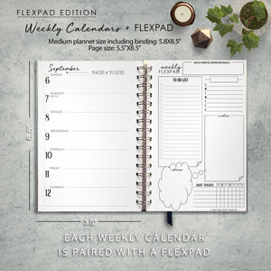 2020 FlexPad Personalized Planner Blue and Gray Paisley Monogram