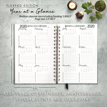 Load image into Gallery viewer, 2020 FlexPad Personalized Planner Watercolor Feather Crystal Bohemian