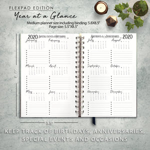 2020 FlexPad Personalized Planner Black and White Bandage Stripes with Berry Accents