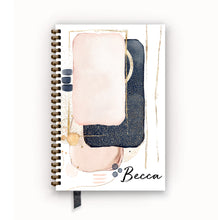 Load image into Gallery viewer, Undated Academic Personalized Planner Blush Navy Abstract Glam