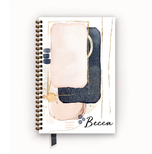 Undated Academic Personalized Planner Blush Navy Abstract Glam