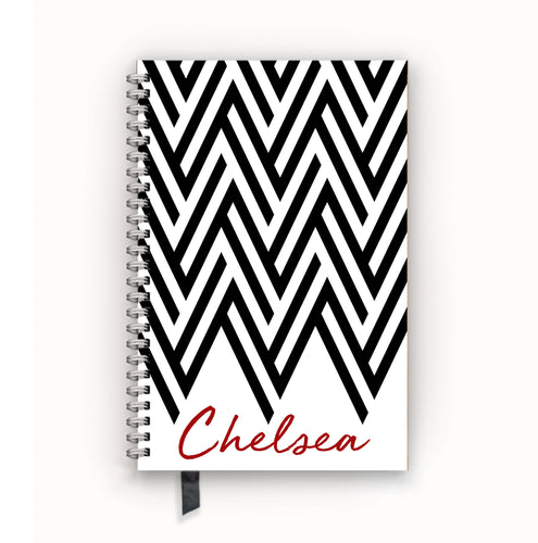 Undated Academic Personalized Planner Chevron Black and White