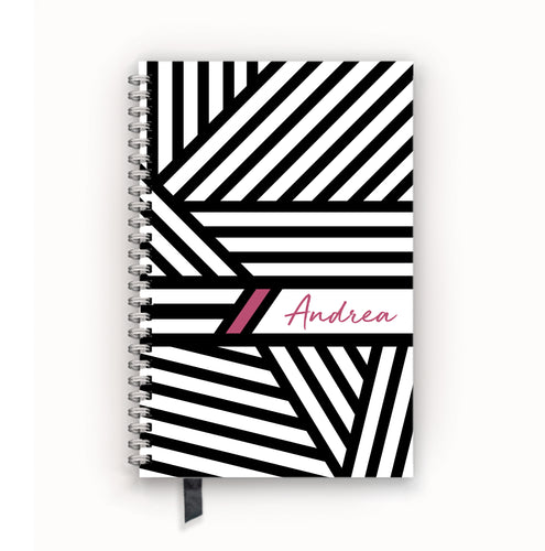 Undated Academic Personalized Planner Black and White Bandage Stripes with Berry Accents