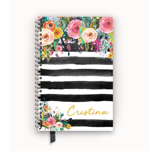 Undated Academic Personalized Planner Watercolor Floral on Black Stripes