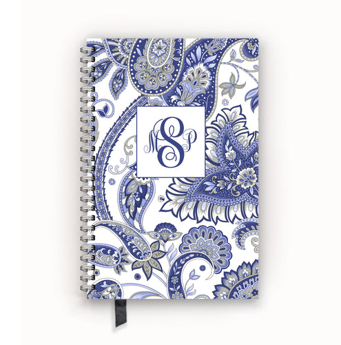 Undated Academic Personalized Planner Blue and Gray Paisley Monogram