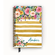 Load image into Gallery viewer, Undated Academic Personalized Planner Watercolor Floral on Butterscotch Stripes