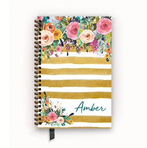 Undated Academic Personalized Planner Watercolor Floral on Butterscotch Stripes