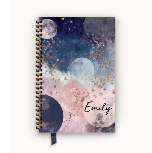 Undated Academic Personalized Planner Navy and Blush Celestial