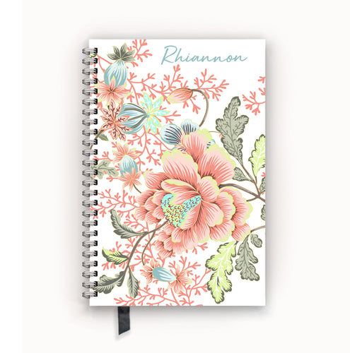 Undated Academic Personalized Planner Coral Floral Chinoiserie