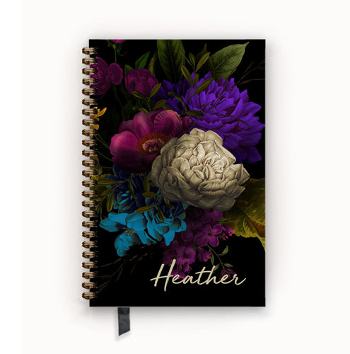Undated Academic Personalized Planner Moody Dark Floral