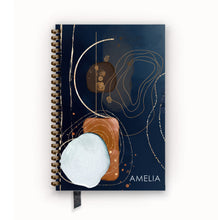 Load image into Gallery viewer, Undated Academic Personalized Planner Navy and Saddle Deconstructed Geode