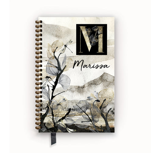Undated Academic Personalized Planner Mountain Mist Monogram