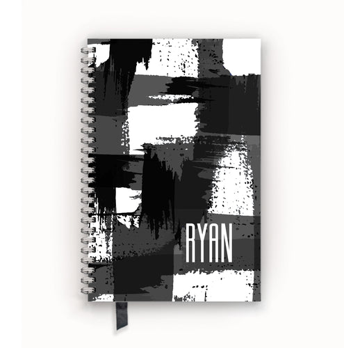 Undated Academic Personalized Planner Black and White Grunge