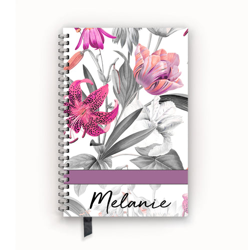 Undated Academic Personalized Planner Pink Lily Black and White Floral