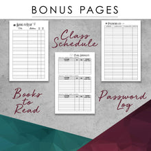 Load image into Gallery viewer, Undated Academic Personalized Planner Watercolor Floral on Gray Stripes