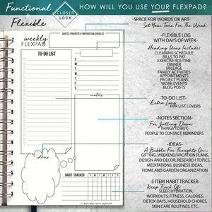 2020 FlexPad Personalized Planner Black and White Grunge