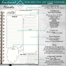Load image into Gallery viewer, 2020 FlexPad Personalized Planner Black and White Bandage Stripes with Berry Accents