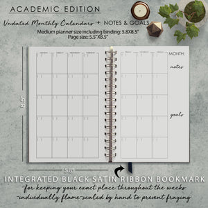 Undated Academic Personalized Planner Black and Gray Split Floral