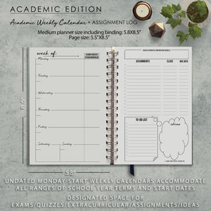 Undated Academic Personalized Planner Herbal Aloe Green Floral Monogram