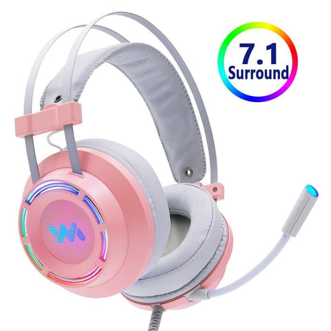 Casque Gamer PC<br> Son Surround en rose casque de gaming Le Gaming