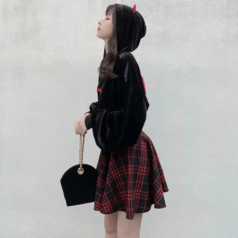 High Waist Plaid Mini Skirt