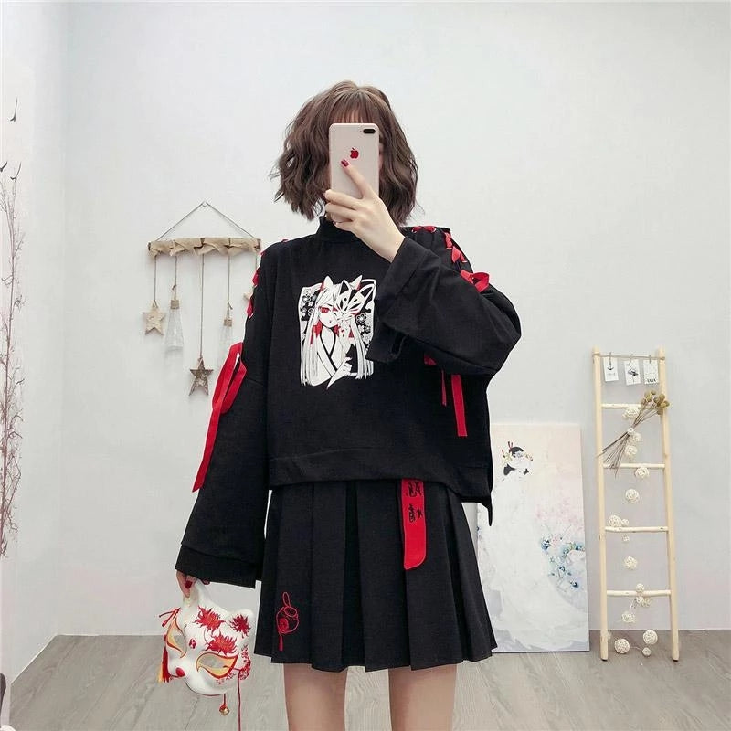 Best Kawaii - Cartoon Fox Print Lacing Short Sweatshirt