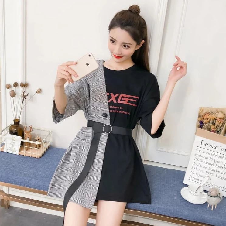 Best Kawaii - Assymmetric Patchwork T-shirt Dress