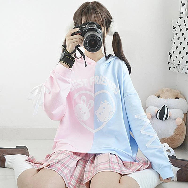 Best Kawaii - BEST FRIEND Letter Bunny Kitty Cartoon Hoodie Color Block