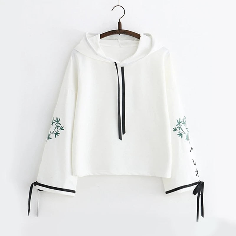 Best Kawaii - Bamboo Embroidery Bowknot Sleeves Sweatshirt