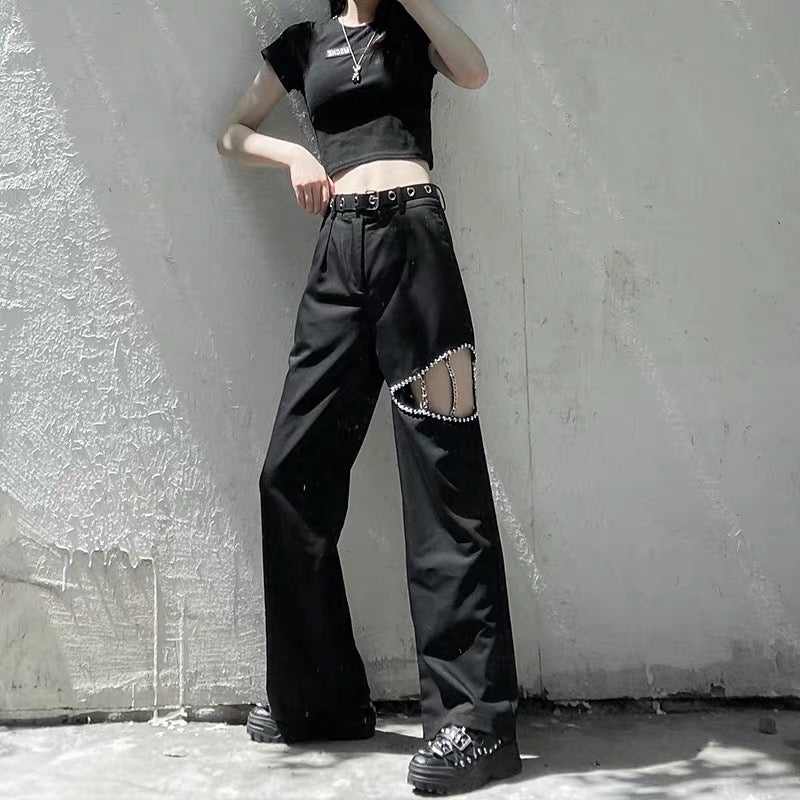 Bestkawaii-Beaded-Hollow-High-Waist-Black-Straight-Pants