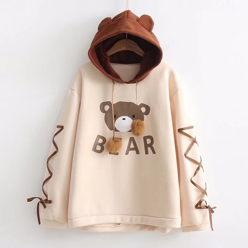 Best Kawaii - Bear Ears Lace-Up Sleeves Hoodie